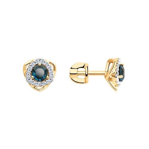 Серьги из золота с синими топазами и фианитами (726092) - фото