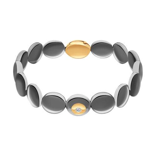 Керамический браслет с золотом и бриллиантом