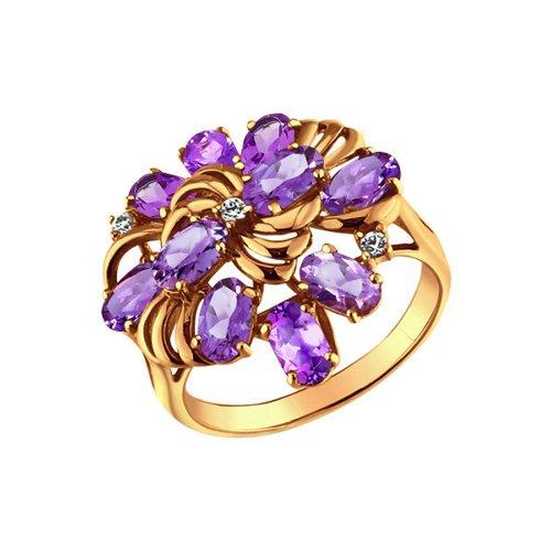 Кольцо SOKOLOV из золота c фианитами и аметистами «Скабиоза» стоимость