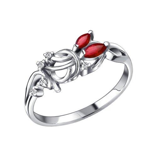 Кольцо с красными и белыми фианитами SOKOLOV ханна с комната с белыми стенами