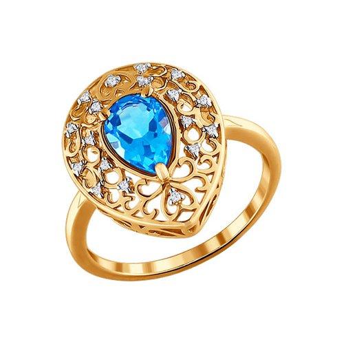 Ажурное кольцо с большим топазом SOKOLOV ажурное кольцо с крупным голубым топазом sokolov