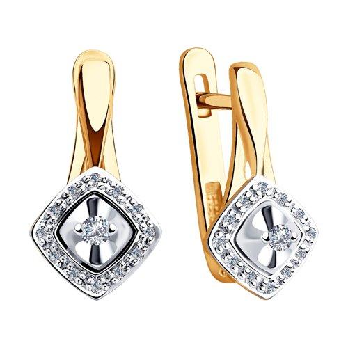 Серьги из комбинированного золота с бриллиантами (1021338) - фото №2