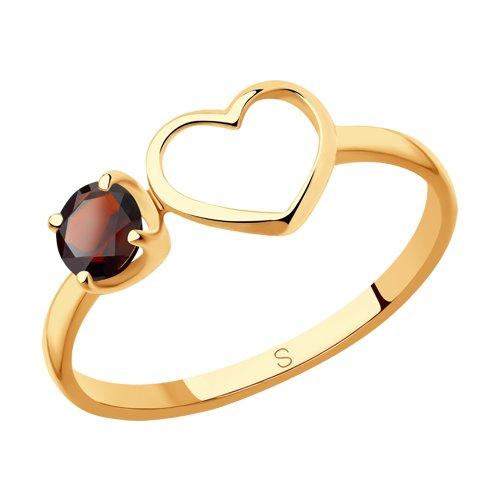 Кольцо из золота с гранатом (715910) - фото