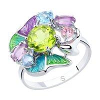 Кольцо из серебра с эмалью и миксом камней