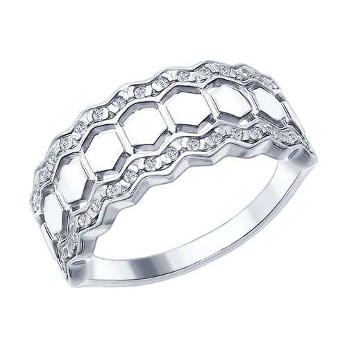 Кольцо из серебра с фианитами (94012406) - фото
