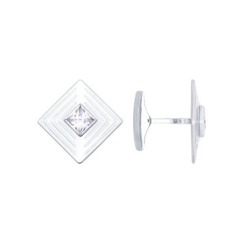 Запонки из серебра с фианитами