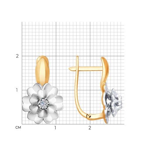 Серьги из комбинированного золота с бриллиантами 1021229 SOKOLOV фото 2