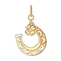 Подвеска «Подкова» из золота с фианитом