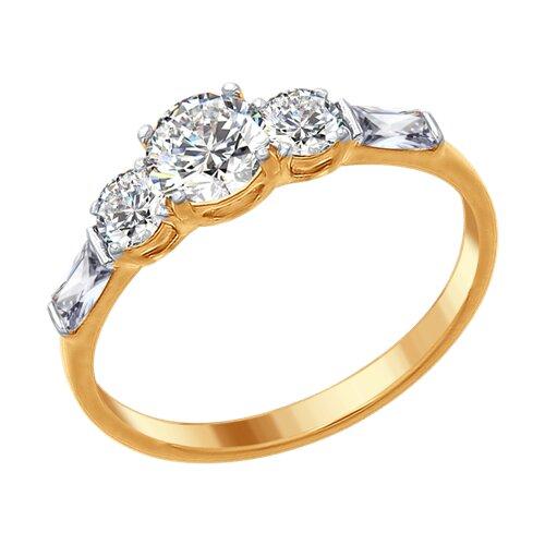 Кольцо из золочёного серебра со Swarovski Zirconia (89010078) - фото