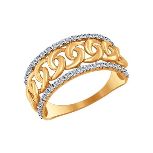 Кольцо из золота с фианитами «Цепь»