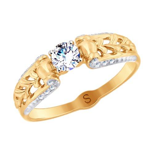 Кольцо из золота с фианитами (017955) - фото