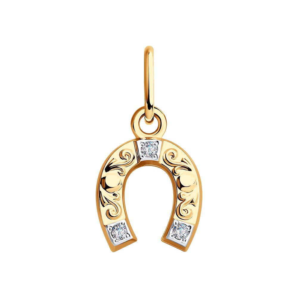 Фото - Подвеска «Подкова» SOKOLOV из золота с фианитами jeweller karat подвеска золотая с фианитами подкова 1137438 1