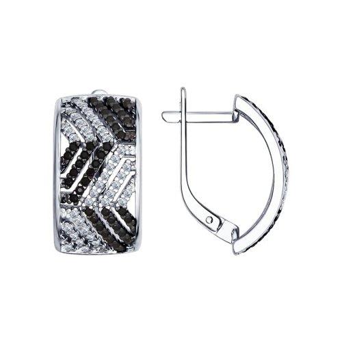 Серьги из серебра с чёрными фианитами