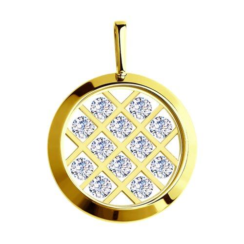 Подвеска из желтого золота со Swarovski Zirconia и минеральным стеклом