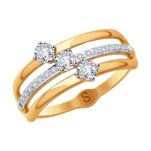 Кольцо из золота с фианитами (018021) - фото