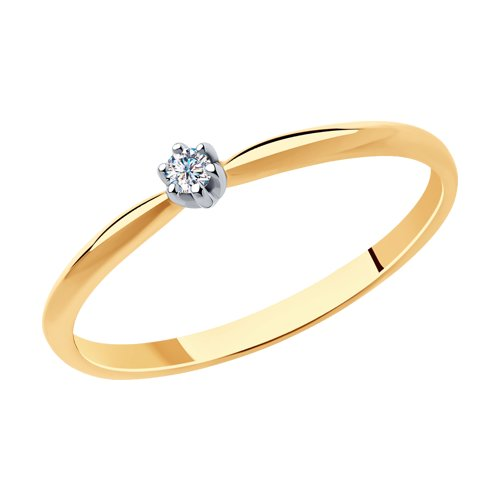 Кольцо из золота с бриллиантом (1011928) - фото