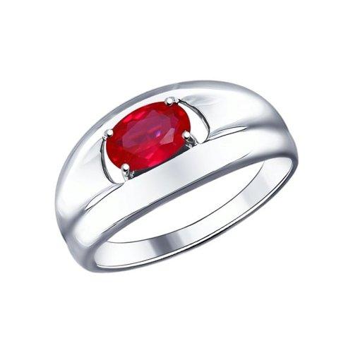 Кольцо из серебра с корундом рубиновым (синт.)