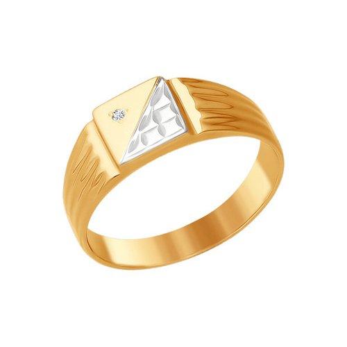 Печатка из комбинированного золота с алмазной гранью