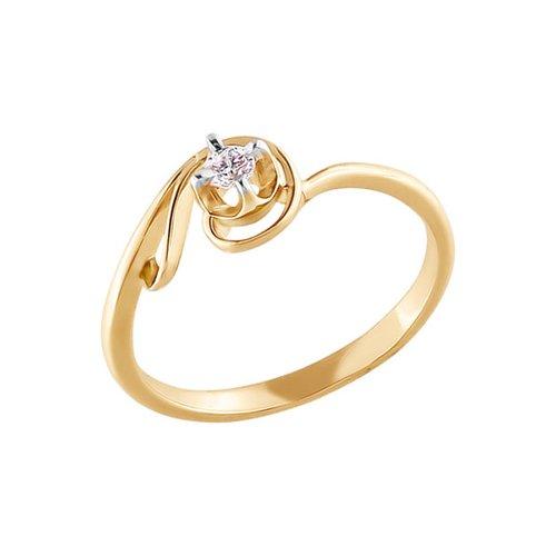 Золотое помолвочное кольцо с фианитом SOKOLOV золотое кольцо ювелирное изделие 01k616351