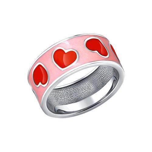 Серебряное колечко с розовой и красной эмалью SOKOLOV