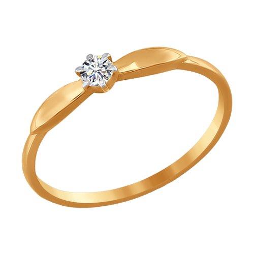 Кольцо из золота с фианитом (016538-4) - фото
