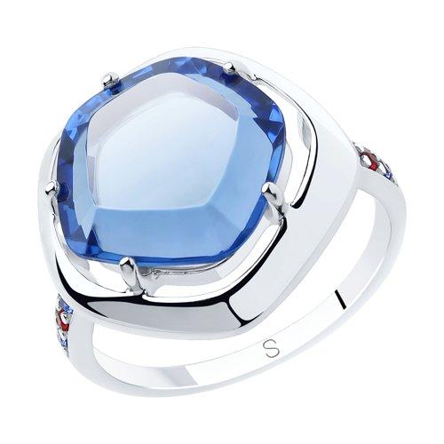 Кольцо из серебра с корундами, ситалом и фианитами (92011884) - фото