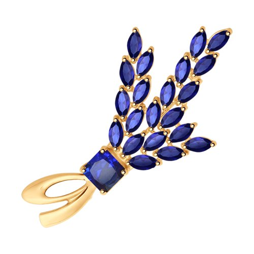 Брошь из золота с синими корундами (синт.) (740224) - фото