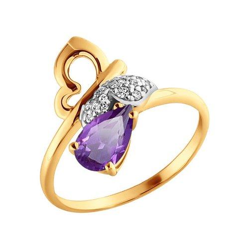Кольцо в форме бабочки с аметистом SOKOLOV цена и фото
