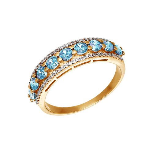 Золотое кольцо со swarovski zirconia голубого цвета SOKOLOV золотое кольцо ювелирное изделие 01k684711ul