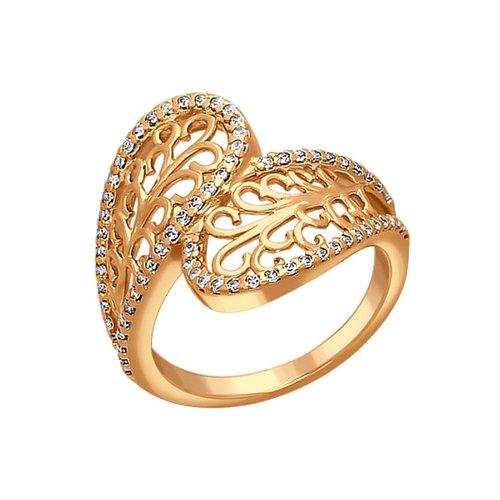 Золотое ажурное кольцо с фианитами SOKOLOV золотое кольцо ювелирное изделие k 11013