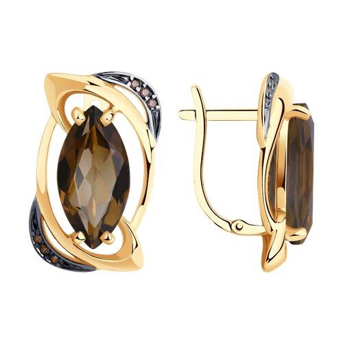 Серьги из золота с раухтопазами и фианитами (727046) - фото