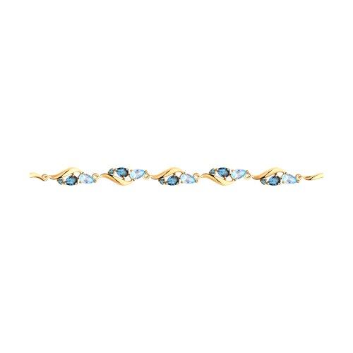 Браслет из золота с голубыми и синими топазами (750329) - фото