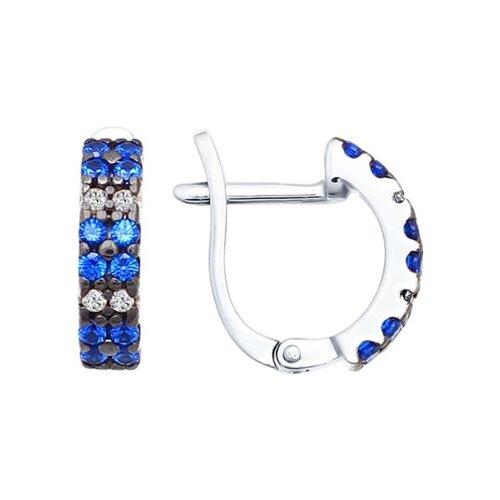 Серьги из серебра с синими фианитами (94021917) - фото