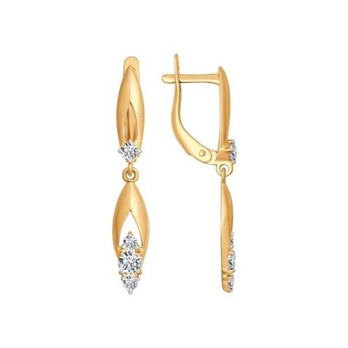 Серьги длинные из золота с фианитами