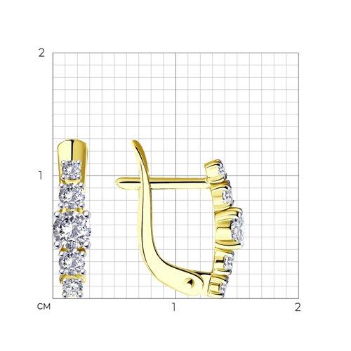 Серьги из желтого золота с фианитами (027452-2) - фото №2