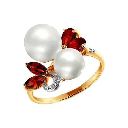 Золотое кольцо с жемчугом и гранатом SOKOLOV золотое кольцо с бриллиантом и чёрным жемчугом sokolov