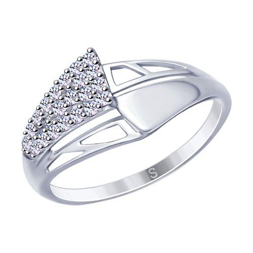Кольцо из серебра с фианитами (94012680) - фото