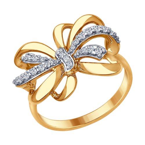 Кольцо из золочёного серебра с фианитами (93010675) - фото