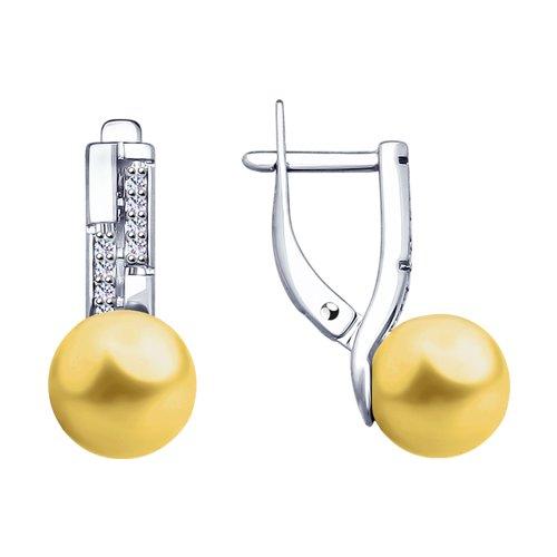Серьги SOKOLOV из серебра с жёлтыми жемчугом Swarovski и фианитами