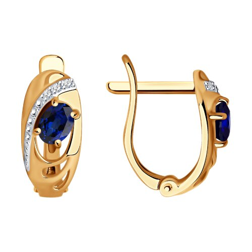 Серьги SOKOLOV из золота с бриллиантами и сапфирами подвес с сапфирами и бриллиантами из розового золота 52112