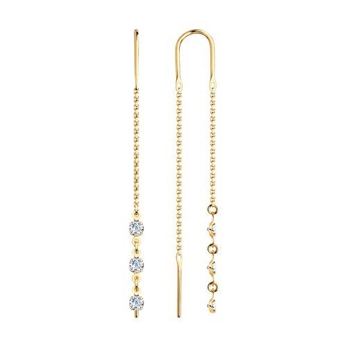 Серьги-цепочки из золота с тремя фианитами цена
