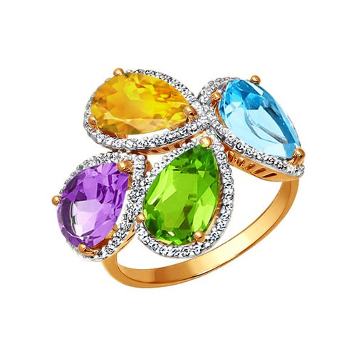 Кольцо из красного золота с яркими вставками (712750) - фото