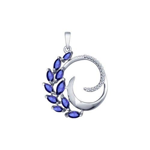 Подвеска SOKOLOV из серебра с бесцветными и синими фианитами подвеска из комбинированного золота с бесцветными и синими фианитами