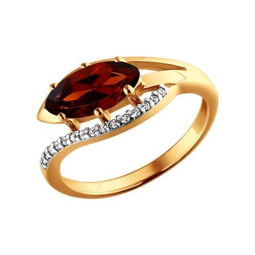 Золотое кольцо с красным камнем SOKOLOV золотое кольцо ювелирное изделие 01k673222