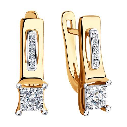 Серьги из комбинированного золота с бриллиантами 1021394 SOKOLOV фото 3