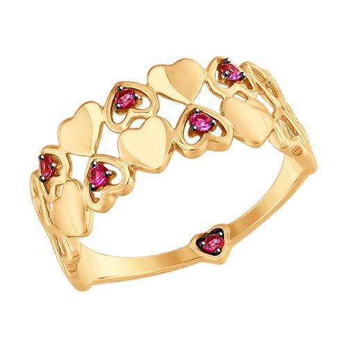 Кольцо из золота с красными фианитами (017533) - фото