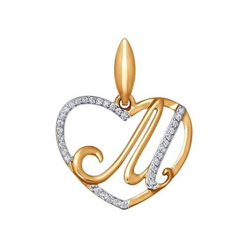 Подвеска-буква «М» из золота (034658) - фото