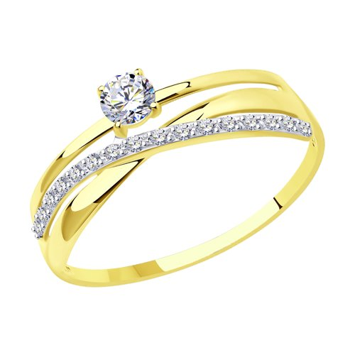 Кольцо из желтого золота с фианитами (016898-2) - фото