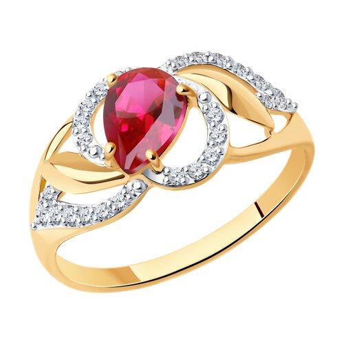 Кольцо из золота с красным корундом (синт.) и фианитами (715271) - фото