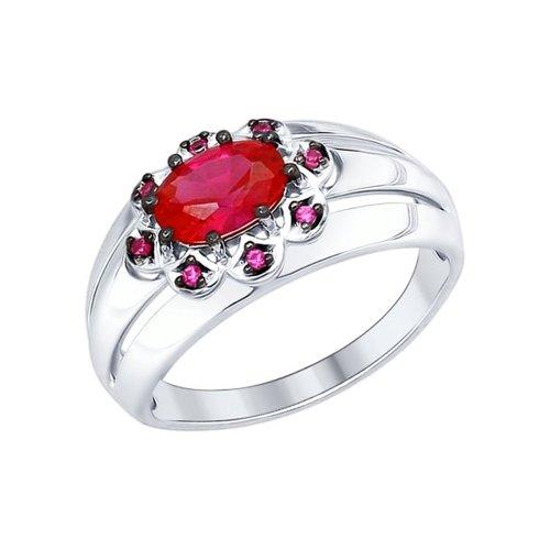 Кольцо из серебра с корундом рубиновым (синт.) и красными фианитами (84010026) - фото